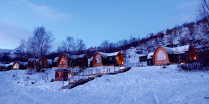 Northern light for Kirkenes snow hotel gamme cabins